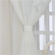 Cortina Urso Luxo Palha com Bordado Inglês