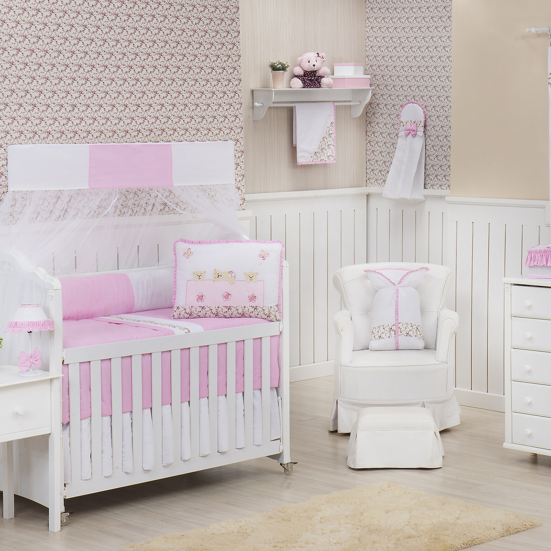 Quarto para Bebê sem Cama Babá Doçura Rosa