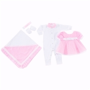 Saída Maternidade Vestido Bonequinha Rosa Poá - Tamanho Único