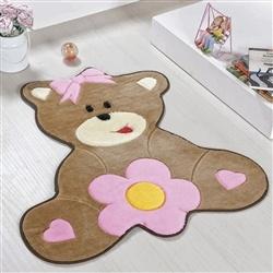 Tapete Baby Ursa Florzinha Rosa