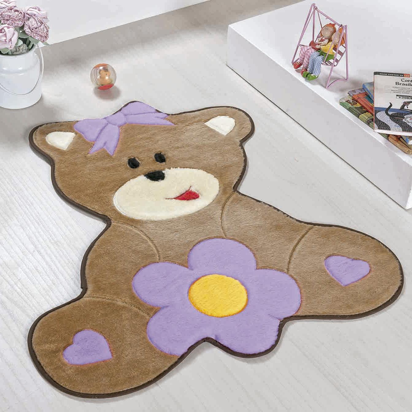 Tapete Baby Ursa Florzinha Lilás