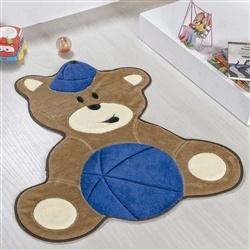 Tapete Baby Urso Bolinha Marinho