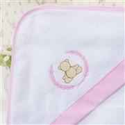 Toalha de Banho Forrada com Capuz Elegance Teddy Rosa