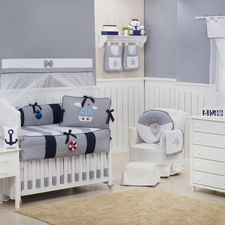 Quarto para Bebê sem Cama Babá Marítimo Marinho