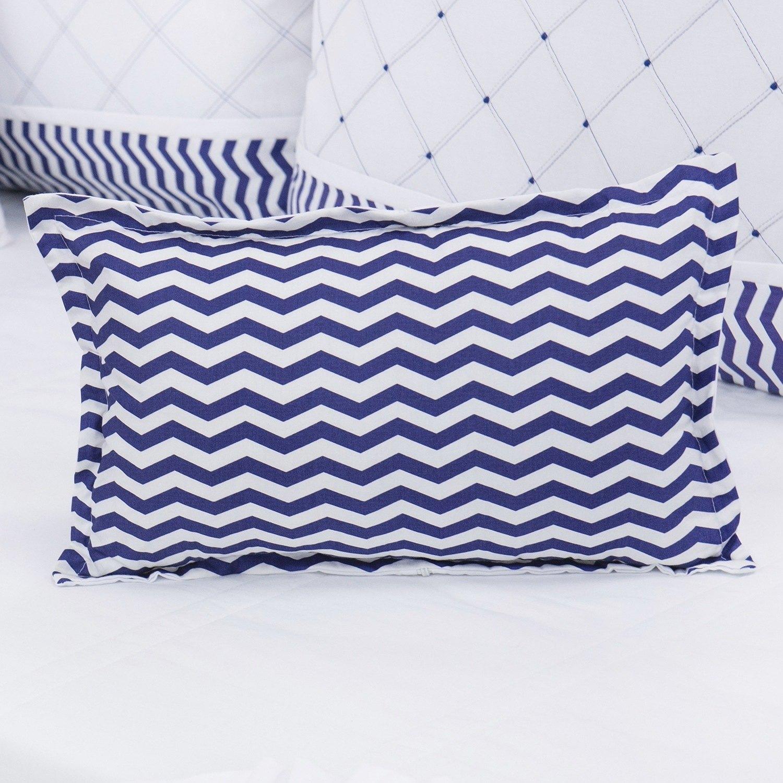 Almofada Decorativa Estampada Glamour Chevron Marinho