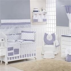 Quarto para Bebê sem Cama Babá Glamour Chevron Marinho