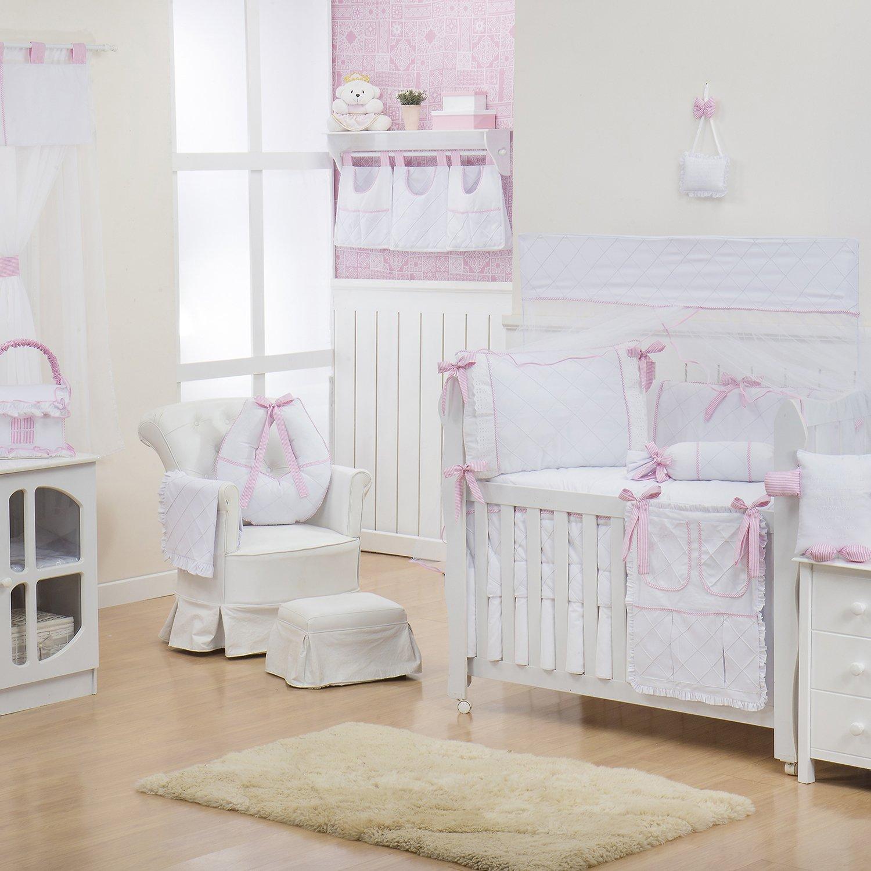 Quarto para Bebê sem Cama Babá Lorenza Rosa