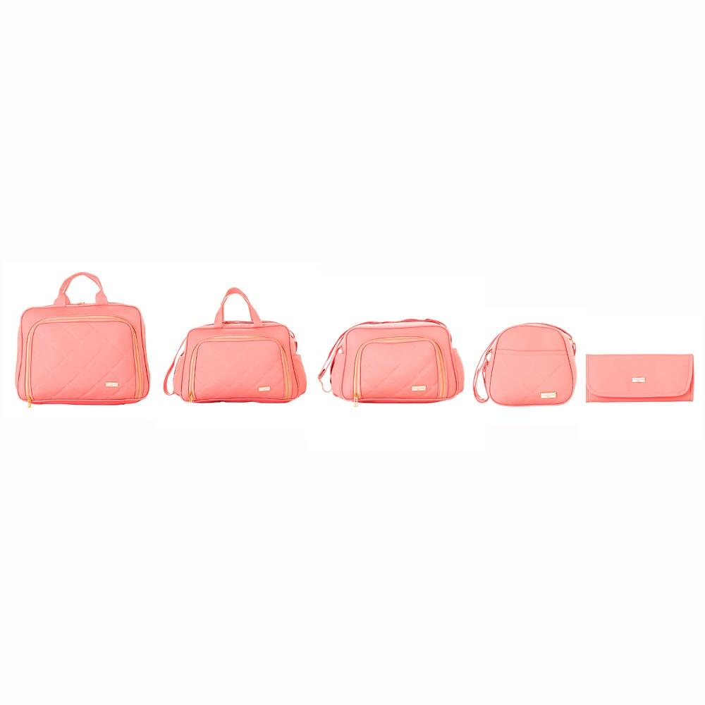 Conjunto de Bolsas Maternidade Paris Rosa Coral