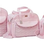 Conjunto de Bolsas Maternidade Chevron Poá Rosa
