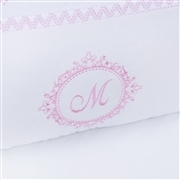 Kit Cama Babá Marselle Rosa com Inicial do Nome Personalizada