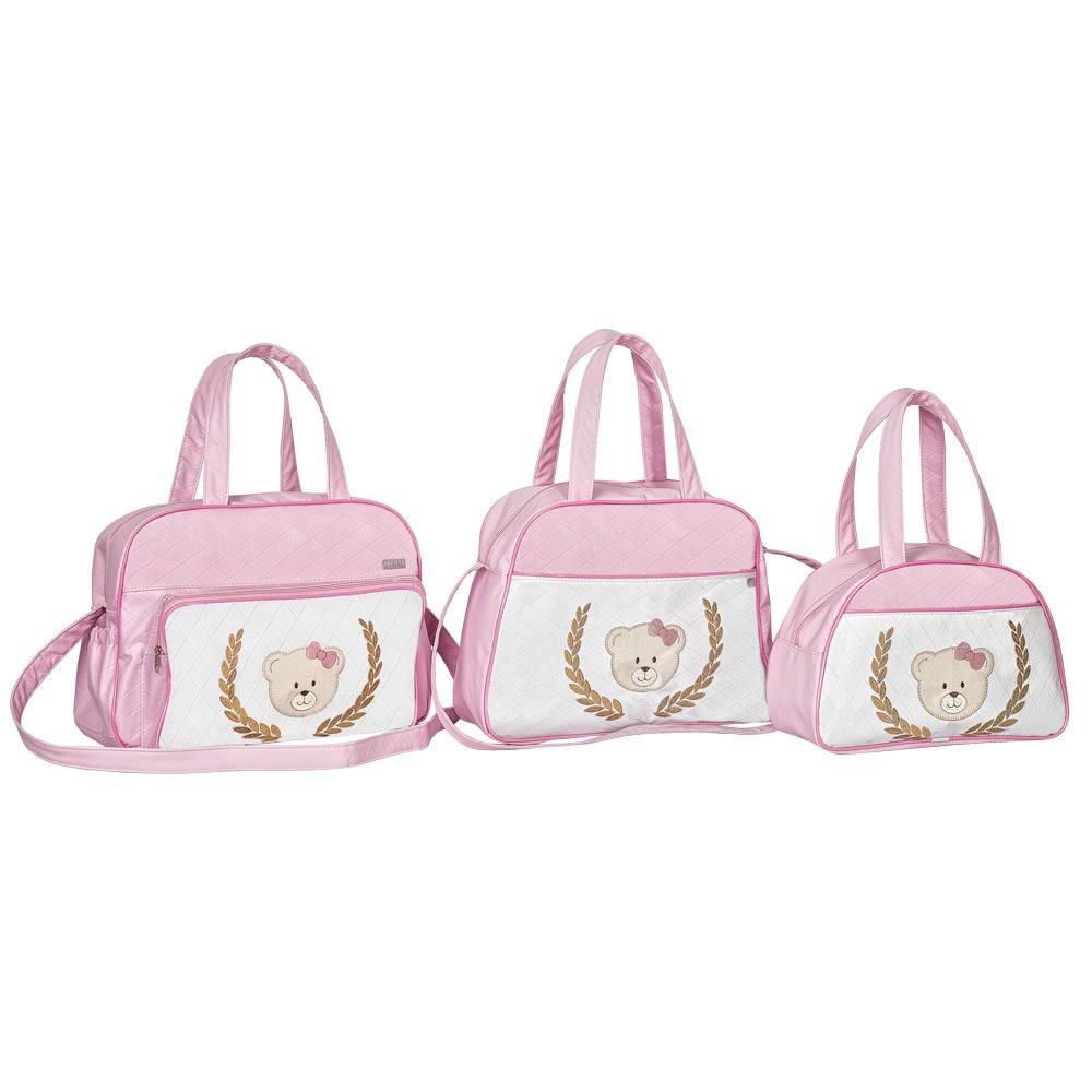 Conjunto de Bolsas Maternidade Bordada Ursinha Rosa