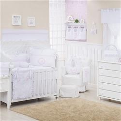 Quarto para Bebê sem Cama Babá Marselle Rosa com Inicial do Nome Personalizada