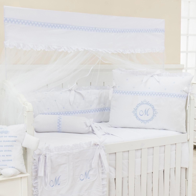 Kit Berço Marselle Azul com Inicial do Nome Personalizada