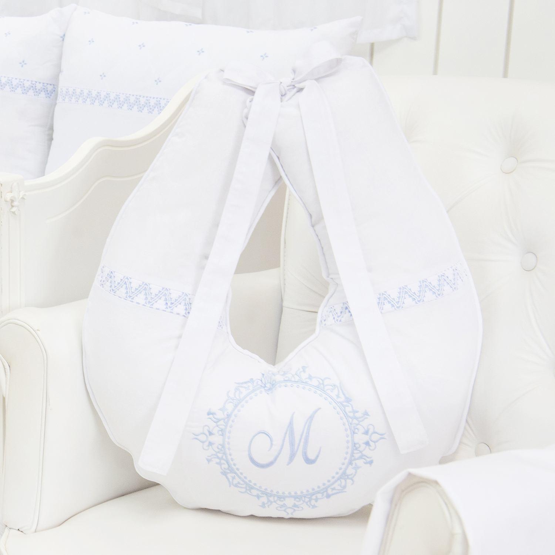 Almofada para Amamentação Marselle Azul com Inicial do Nome Personalizada