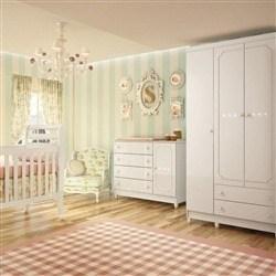 Quarto para Bebê Sol com Berço/Cômoda/Guarda Roupas de 3 Portas