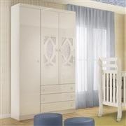 Quarto para Bebê Clean com Berço/Cômoda/Guarda Roupas de 3 Portas