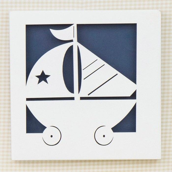 Quadro Decorativo Barquinho Baby Boy Navy Marinho