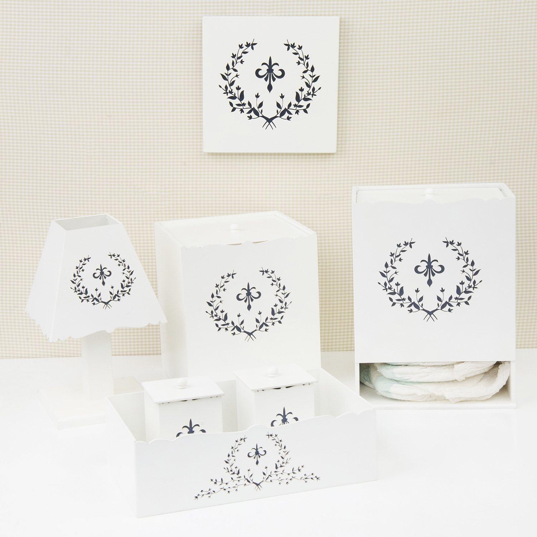 Kit Higiene Com Quadro Decorativo Versailles Marinho