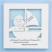 Quadro Decorativo Barco com Ursinho Baby Boy Navy Azul
