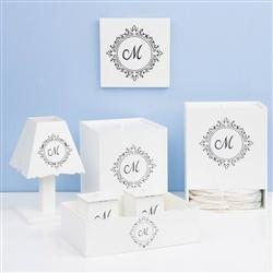 Kit Higiene Com Quadro Decorativo Marselle Marinho com Inicial do Nome Personalizada