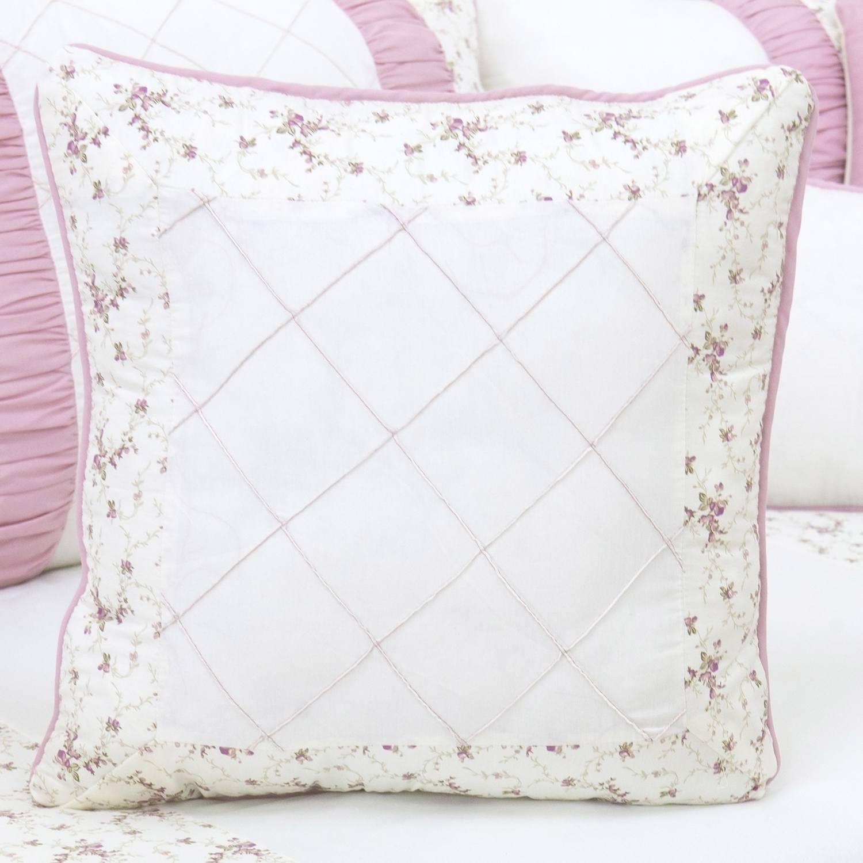Almofada Bordada Glamour Floral Rosê