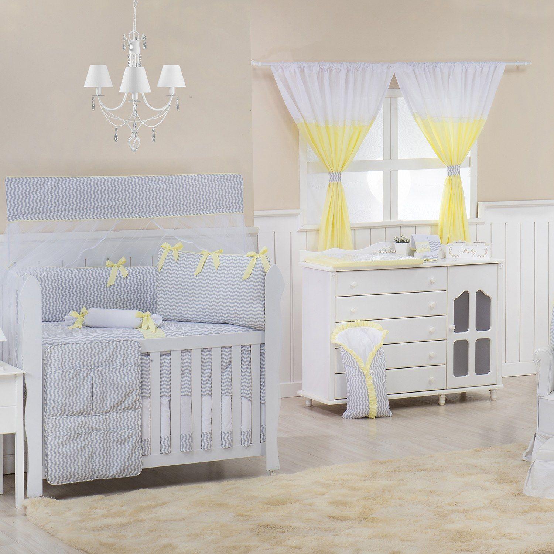 Quarto para Bebê sem Cama Babá Brooklin Chevron Amarelo
