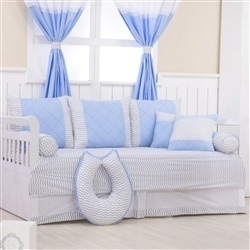Kit Cama Babá Brooklin Chevron Azul