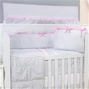 Quarto para Bebê sem Cama Babá Brooklin Chevron Rosa