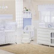 Quarto para Bebê sem Cama Babá Marselle Azul com Inicial do Nome Personalizada