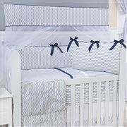 Quarto para Bebê sem Cama Babá Brooklin Chevron Marinho