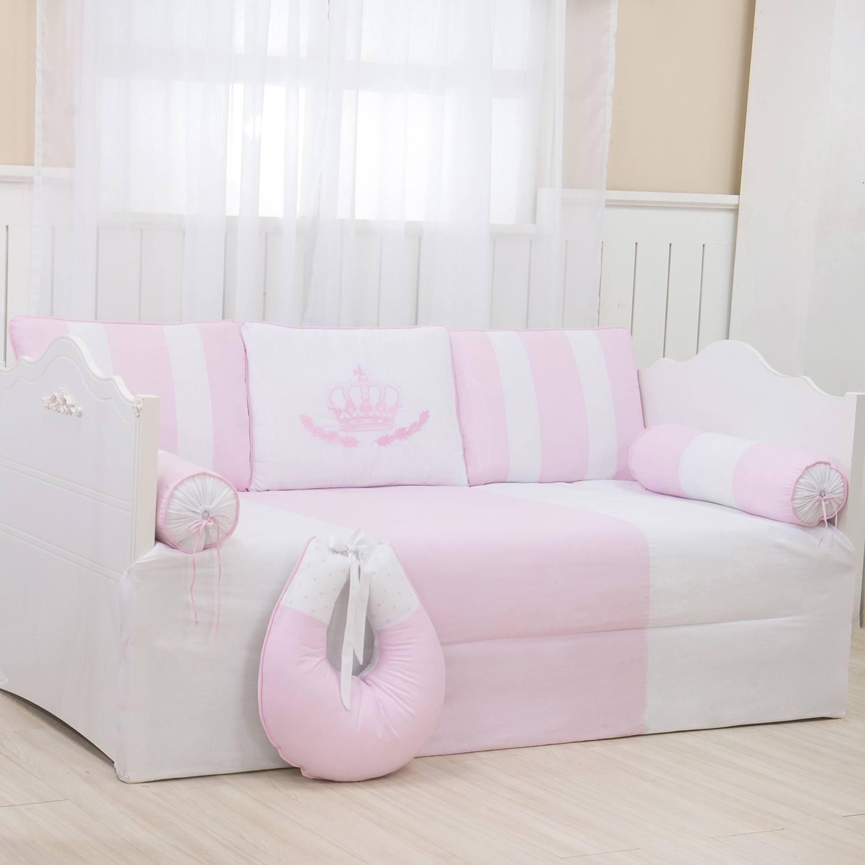 Kit Cama Babá Coroa Real Rosa