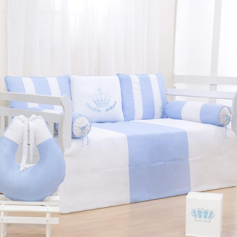 Kit Cama Babá Coroa Real Azul