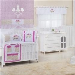 Quarto para Bebê sem Cama Babá Corujinha Floral Pink