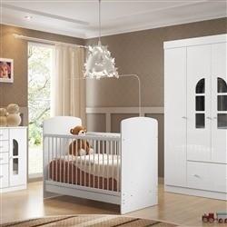 Quarto para Bebê Bolinha de Sabão Branco com Berço/Cômoda/Guarda Roupas de 4 Portas
