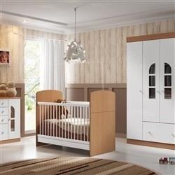 Quarto para Bebê Bolinha de Sabão Mel com Berço/Cômoda/Guarda Roupas de 4 Portas