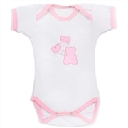 Body Manga Curta Teddy Love Branco 3 a 6 Meses