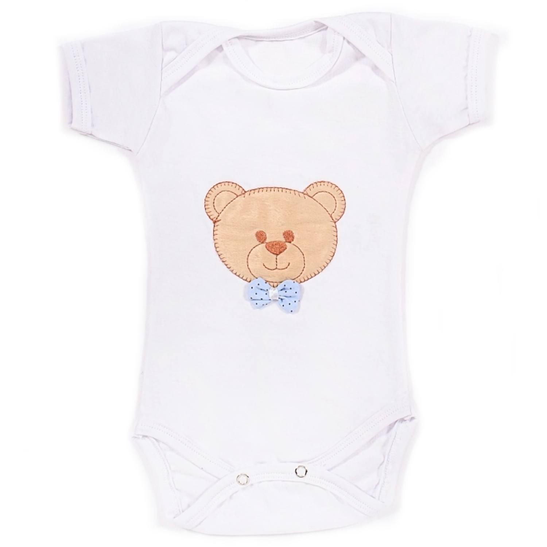 Body Manga Curta Urso Soninho Branco Recém-Nascido a 3 Meses