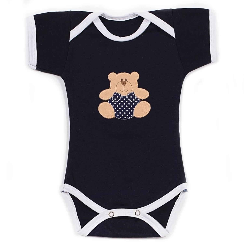 Body Manga Curta Urso Bolinha Marinho Recém-Nascido a 3 Meses