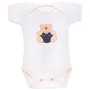 Body Manga Curta Urso Bolinha Branco Recém-Nascido a 3 Meses
