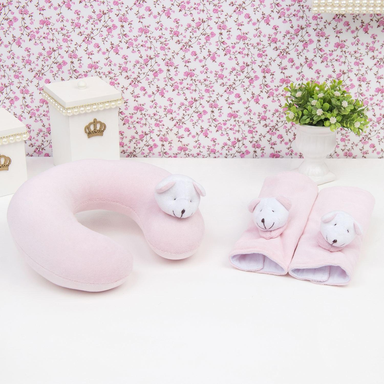 Kit Acessórios Cadeirinha Carro em Plush Ursinha Rosa Bebê