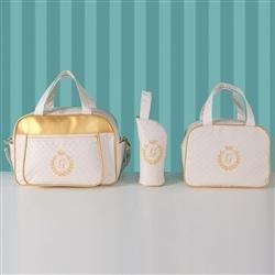 Conjunto de Bolsas Maternidade Milão Inicial do Nome Personalizada Marfim e Dourado