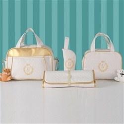 Conjunto de Bolsas Maternidade com Trocador Milão Inicial do Nome Personalizada Marfim e Dourado