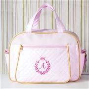 Bolsa Maternidade Milão Inicial do Nome Personalizada Rosa e Dourado