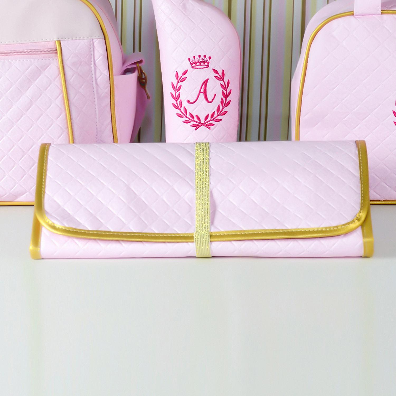 Trocador Portátil Maternidade Milão Rosa e Dourado