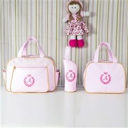 Conjunto de Bolsas Maternidade Milão Inicial do Nome Personalizada Rosa e Dourado
