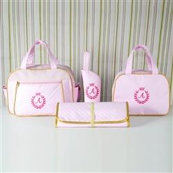 Conjunto de Bolsas Maternidade com Trocador Milão Inicial do Nome Personalizada Rosa e Dourado