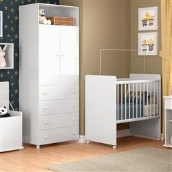 Quarto para Bebê Cookie com Mini Berço/Guarda Roupas de 2 Portas