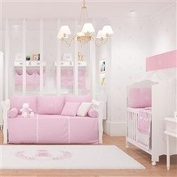 Quarto para Bebê sem Cama Babá Realeza Rosa Premium
