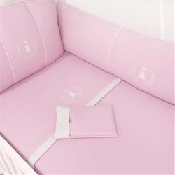 Jogo de Lençol Berço Realeza Rosa Premium