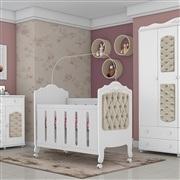 Quarto para Bebê Provence Acetinado com Capitonê Cáqui com Berço/Cômoda/Guarda Roupas de 4 portas